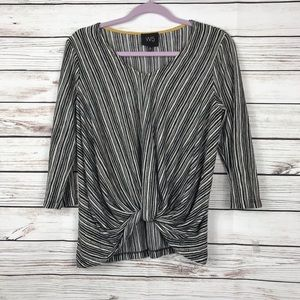 Anthropologie W5 Black White Knot Top Blouse Small